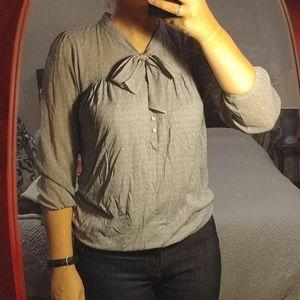 LOFT patterned blouse gray